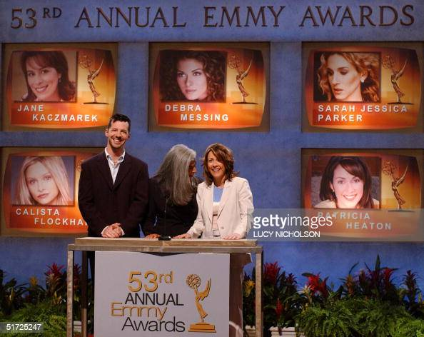 US actress Patricia Heaton reacts as she comes to her nomination for Outstanding Lead Actress in a Comedy Series for 'Everybody Loves Raymond' while...