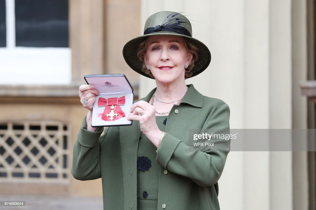 Actress Patricia Hodge poses after she was awarded an OBE by Queen Elizabeth II at Buckingham Palace on November 14, 2017 in London, United Kingdom.