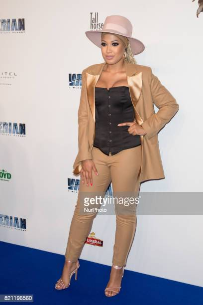 Actress Patricia Kazadi during the 'Valerian and the City of a Thousand Planets' movie premiere at Multikino Zlote Tarasy cinema in Warsaw Poland on...