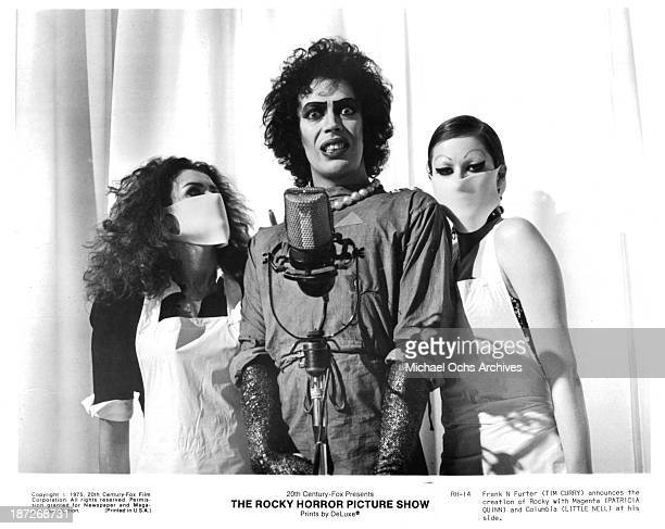 Actress Patricia Quinnactor Tim Curry and actress Little Nell on set of the Cinemax movie 'The Rocky Horror Picture Show' in 1975