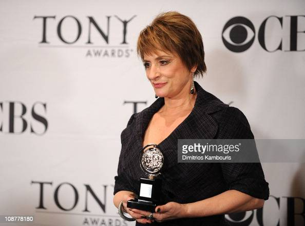 Actress Patti LuPone poses with her Tony Award in the press room during the 62nd Annual Tony Awards at Radio City Music Hall on June 15 2008 in New...