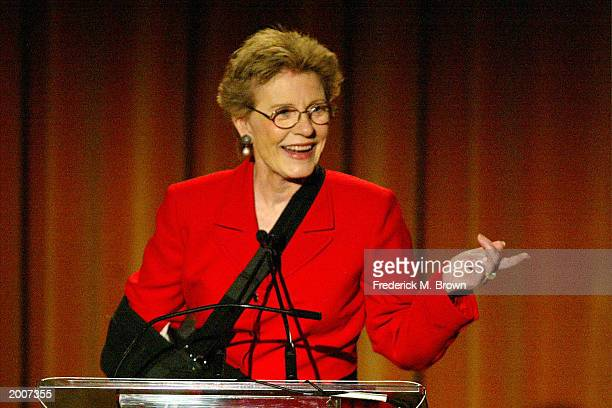 Actress Patty Duke speaks at the Seventh Annual Leadership Awards at the Regent Beverly Wilshire Hotel on May 16 2003 in Beverly Hills California The...