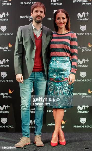 Actress Paula Echevarria and actor Julian Lopez attend the Feroz Awards candidates lecture at Telefonica flagship store on December 5 2017 in Madrid...