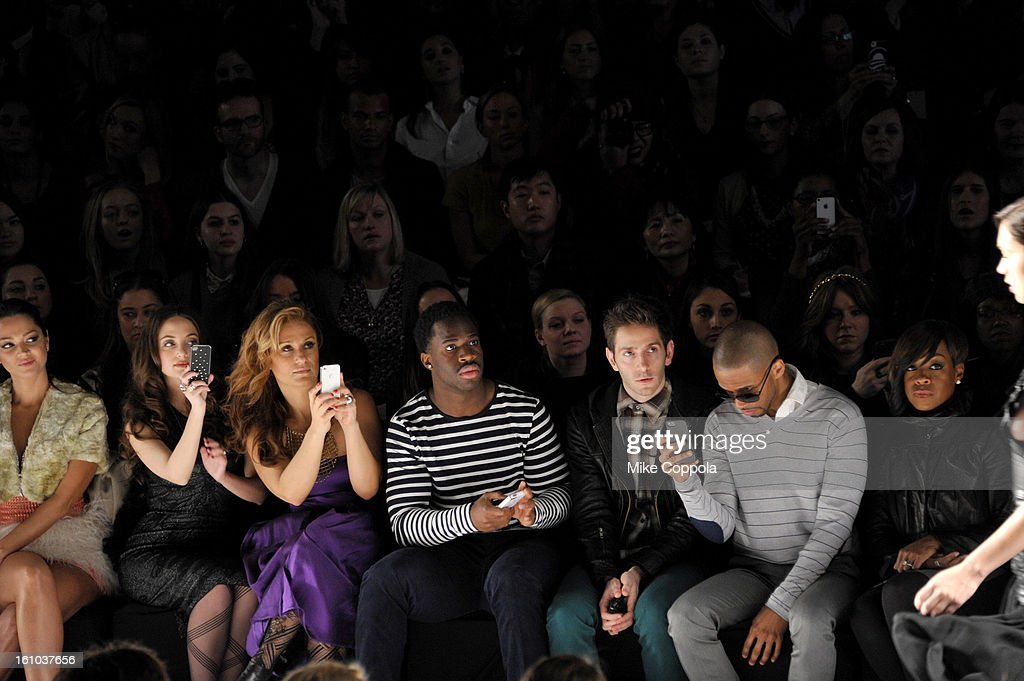 Actress Paula Garces, Alexa Ray Joel, New York Giants cornerback Prince Amakamura, actor Eric West and actress Tichina Arnold attend the Project Runway Fall 2013 fashion show during Mercedes-Benz Fashion Week at The Theatre at Lincoln Center on February 8, 2013 in New York City.