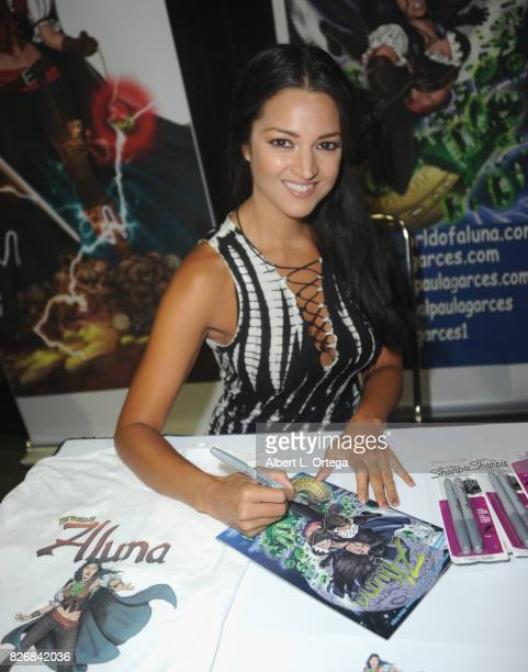 Actress Paula Garces signs her comic book The World Of Aluna at Scare LA Horror Convention held at Los Angeles Convention Center on August 5 2017 in...