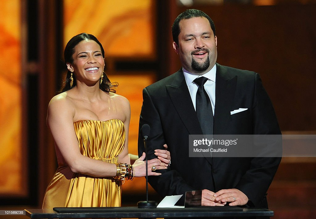 Actress <a gi-track='captionPersonalityLinkClicked' href=/galleries/search?phrase=Paula+Patton&family=editorial&specificpeople=752812 ng-click='$event.stopPropagation()'>Paula Patton</a> and Benjamin Todd Jealous onstage during the 41st NAACP Image awards held at The Shrine Auditorium on February 26, 2010 in Los Angeles, California.