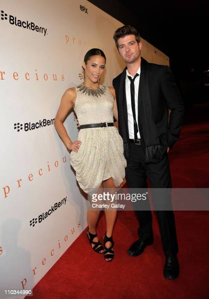 Actress Paula Patton and Singer Robin Thicke attend the 'Precious' Pre Gala Screening Cocktail Reception Hosted by BlackBerry held at the Royal...