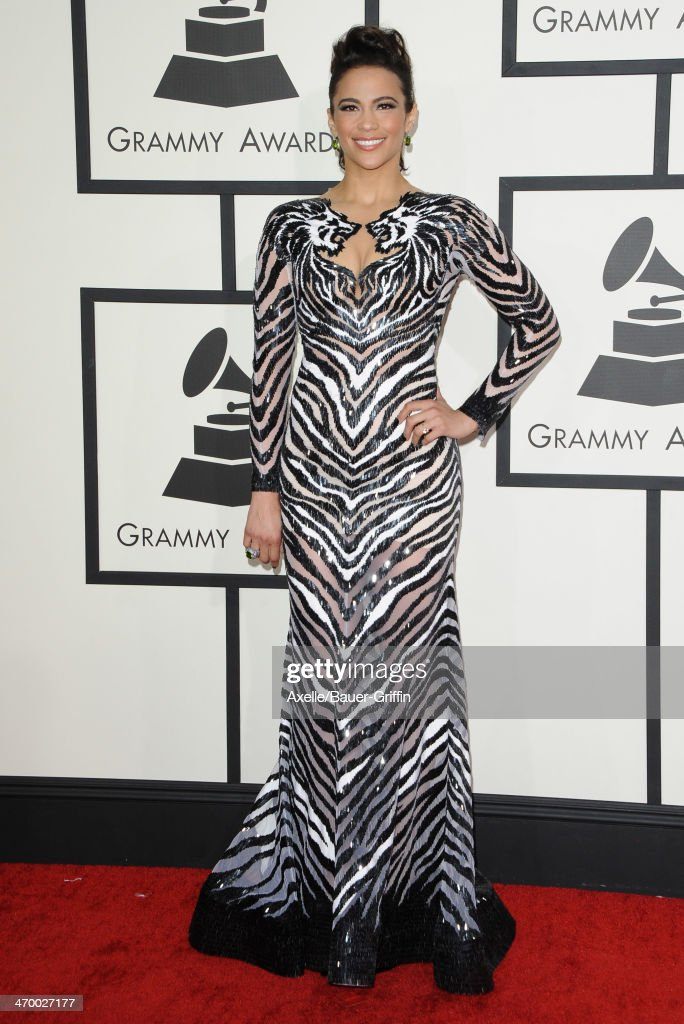 Actress Paula Patton arrives at the 56th GRAMMY Awards at Staples Center on January 26, 2014 in Los Angeles, California.