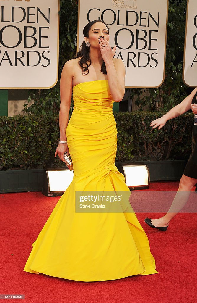 Actress Paula Patton arrives at the 69th Annual Golden Globe Awards held at the Beverly Hilton Hotel on January 15, 2012 in Beverly Hills, California.