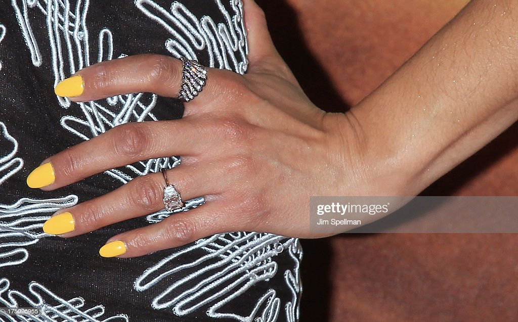 Actress Paula Patton (jewelry detail) attends the '2 Guns' New York Premiere at SVA Theater on July 29, 2013 in New York City.