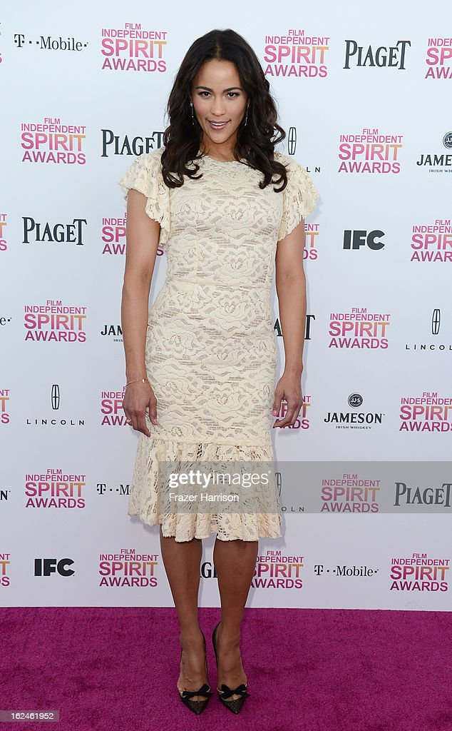 Actress Paula Patton attends the 2013 Film Independent Spirit Awards at Santa Monica Beach on February 23, 2013 in Santa Monica, California.