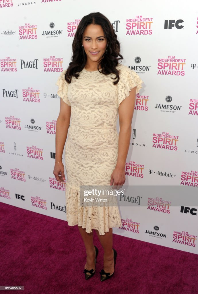 Actress <a gi-track='captionPersonalityLinkClicked' href=/galleries/search?phrase=Paula+Patton&family=editorial&specificpeople=752812 ng-click='$event.stopPropagation()'>Paula Patton</a> attends the 2013 Film Independent Spirit Awards at Santa Monica Beach on February 23, 2013 in Santa Monica, California.