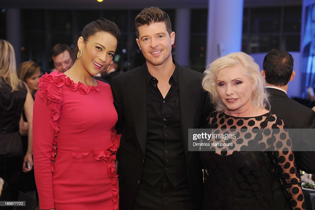 Actress Paula Patton, singer Robin Thicke, and singer Debbie Harry attend the 2013 GQ Gentlemen's Ball presented by BMW i, Movado, and Nautica at IAC Building on October 23, 2013 in New York City.