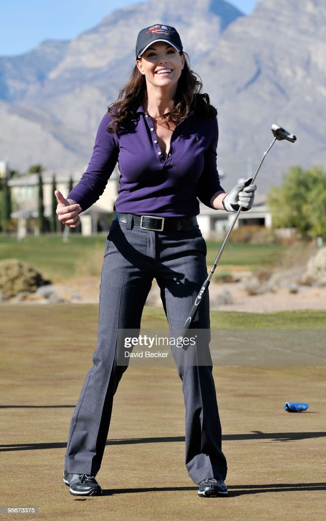 Actress Paula Trickey on the 13th green at the 11th Annual National Center for Missing Exploited Children Celebrity Golf Tournament sponsored by...