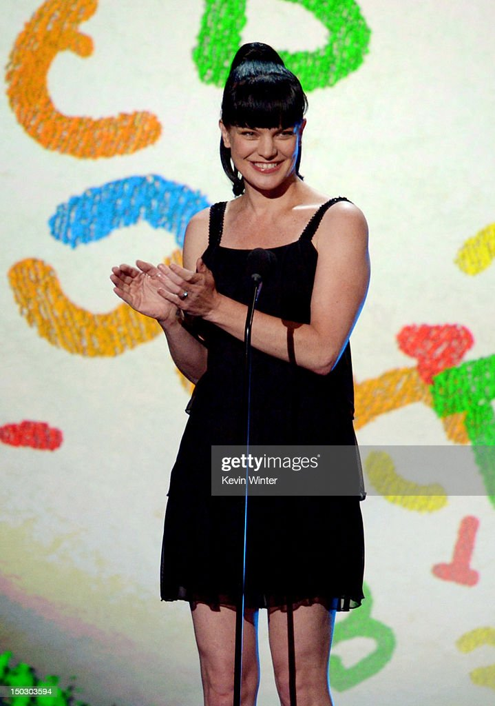 Actress Pauley Perrette appears onstage at CBS' Teachers Rock Special live concert at the Nokia Theatre L.A. Live on August 14, 2012 in Los Angeles, California.