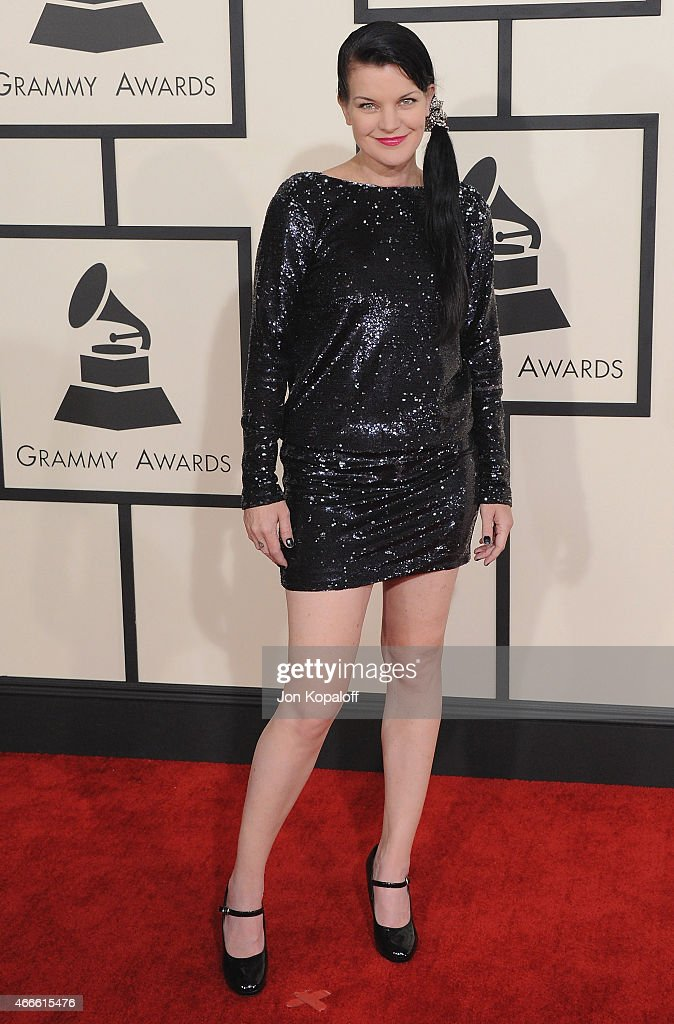 Actress Pauley Perrette arrives at the 57th GRAMMY Awards at Staples Center on February 8, 2015 in Los Angeles, California.