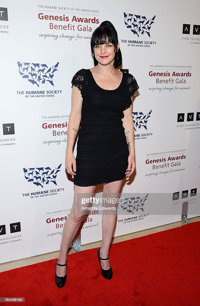 Actress Pauley Perrette arrives at The Humane Society's 2013 Genesis Awards Benefit Gala at The Beverly Hilton Hotel on March 23, 2013 in Beverly Hills, California.