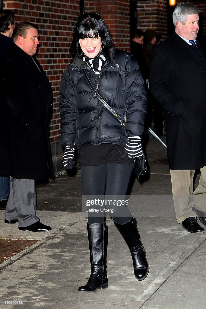 Actress <a gi-track='captionPersonalityLinkClicked' href=/galleries/search?phrase=Pauley+Perrette&family=editorial&specificpeople=625846 ng-click='$event.stopPropagation()'>Pauley Perrette</a> arrives to 'Late Show with David Letterman' at Ed Sullivan Theater on February 4, 2013 in New York City.
