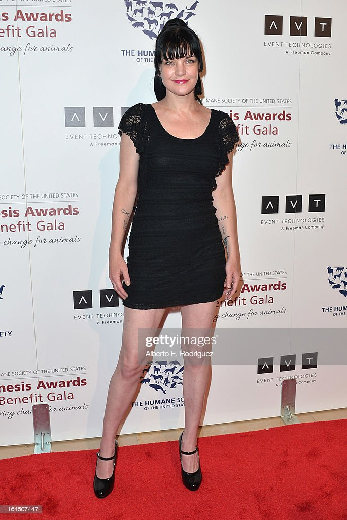 Actress Pauley Perrette arrives to the 2013 Genesis Awards Benefit Gala at The Beverly Hilton Hotel on March 23, 2013 in Beverly Hills, California.