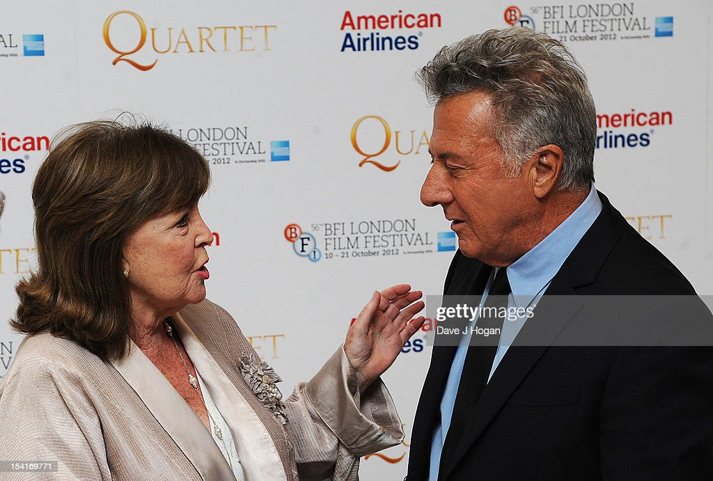 Actress Pauline Collins talks to Director Dustin Hoffman at the premiere of 'Quartet' during the 56th BFI London Film Festival at Odeon Leicester Square on October 15, 2012 in London, England.