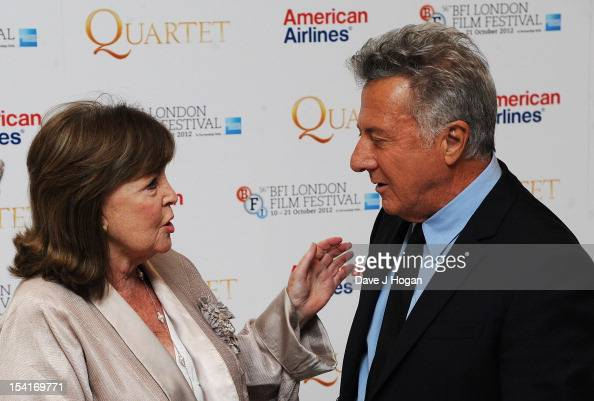 Actress Pauline Collins talks to Director Dustin Hoffman at the premiere of 'Quartet' during the 56th BFI London Film Festival at Odeon Leicester...
