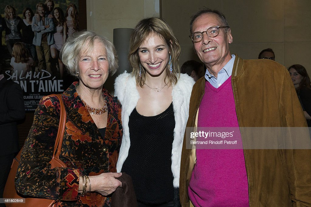 Actress <a gi-track='captionPersonalityLinkClicked' href=/galleries/search?phrase=Pauline+Lefevre&family=editorial&specificpeople=5853150 ng-click='$event.stopPropagation()'>Pauline Lefevre</a> poses with her parents Patsy Lefevre (L) and Charles-Andre Lefevre as they attend a party following the premiere of 'Salaud, on t'aime' (Bastard, we love you) directed by French director Claude Lelouch, at Cinema UGC Normandie on March 31, 2014 in Paris, France.