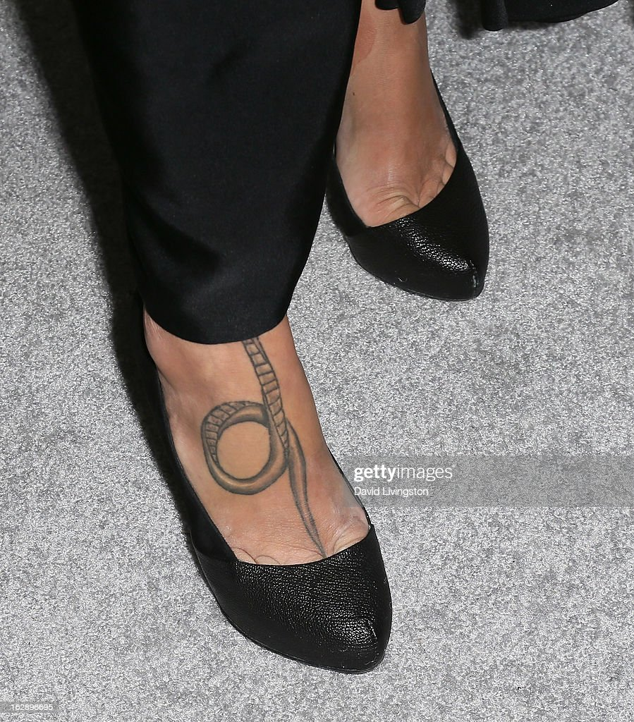 Actress Paz de la Huerta (shoe detail) attends the Harper's BAZAAR celebration of Cameron Silver and Christos Garkinos of Decades new Bravo series 'Dukes of Melrose' at The Terrace at Sunset Tower on February 28, 2013 in West Hollywood, California.
