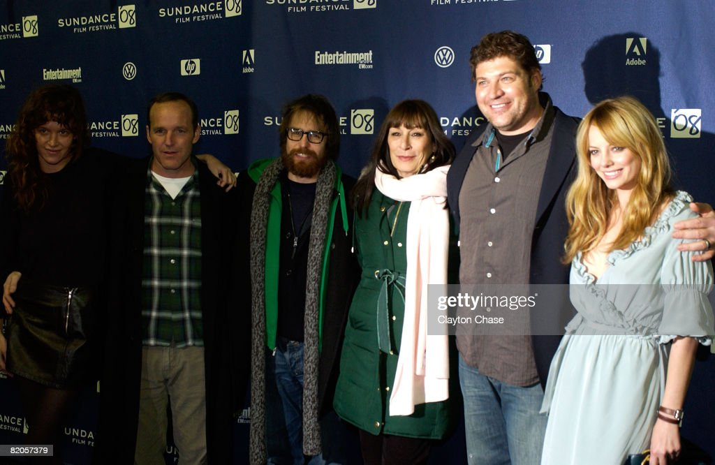 Actress Paz de la Huerta, director Clark Gregg, actor Sam Rockwell, actress Anjelica Huston, actor Brad William Henke and actress Bijou Phillips attend a screening of 'Choke' at the Racquet Club Theatre during 2008 Sundance Film Festival on January 21, 2008 in Park City, Utah.