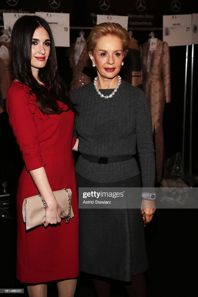 Actress <a gi-track='captionPersonalityLinkClicked' href=/galleries/search?phrase=Paz+Vega&family=editorial&specificpeople=208840 ng-click='$event.stopPropagation()'>Paz Vega</a> and designer Carolina Herrera pose backstage at the Carolina Herrera Fall 2013 fashion show during Mercedes-Benz Fashion Week at The Theatre at Lincoln Center on February 11, 2013 in New York City.