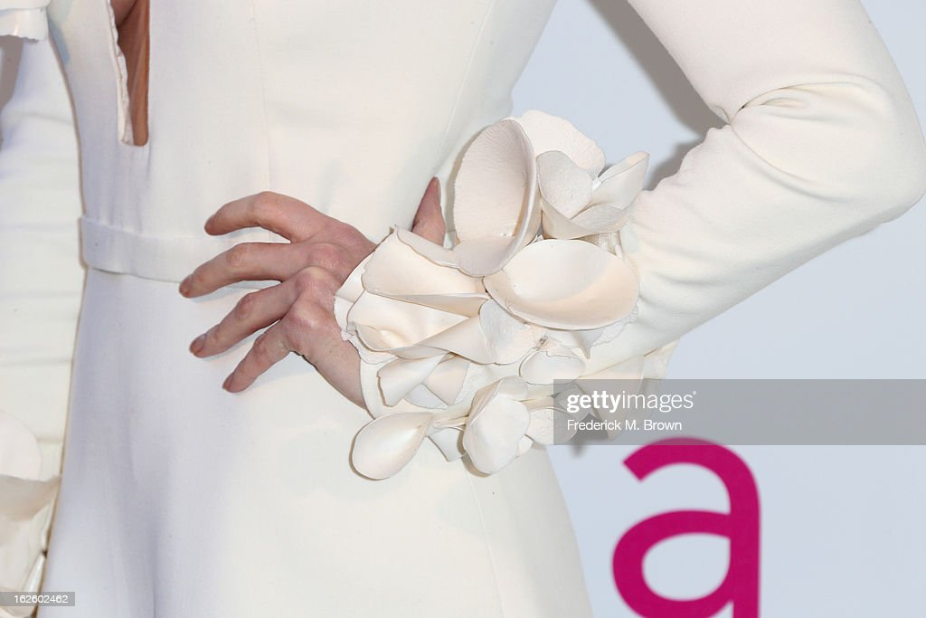 Actress Paz Vega (fashion detail) arrives at the 21st Annual Elton John AIDS Foundation's Oscar Viewing Party on February 24, 2013 in Los Angeles, California.