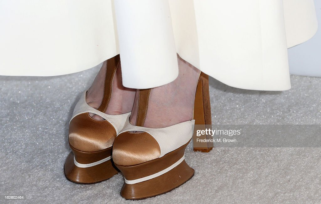 Actress Paz Vega (shoe detail) arrives at the 21st Annual Elton John AIDS Foundation's Oscar Viewing Party on February 24, 2013 in Los Angeles, California.
