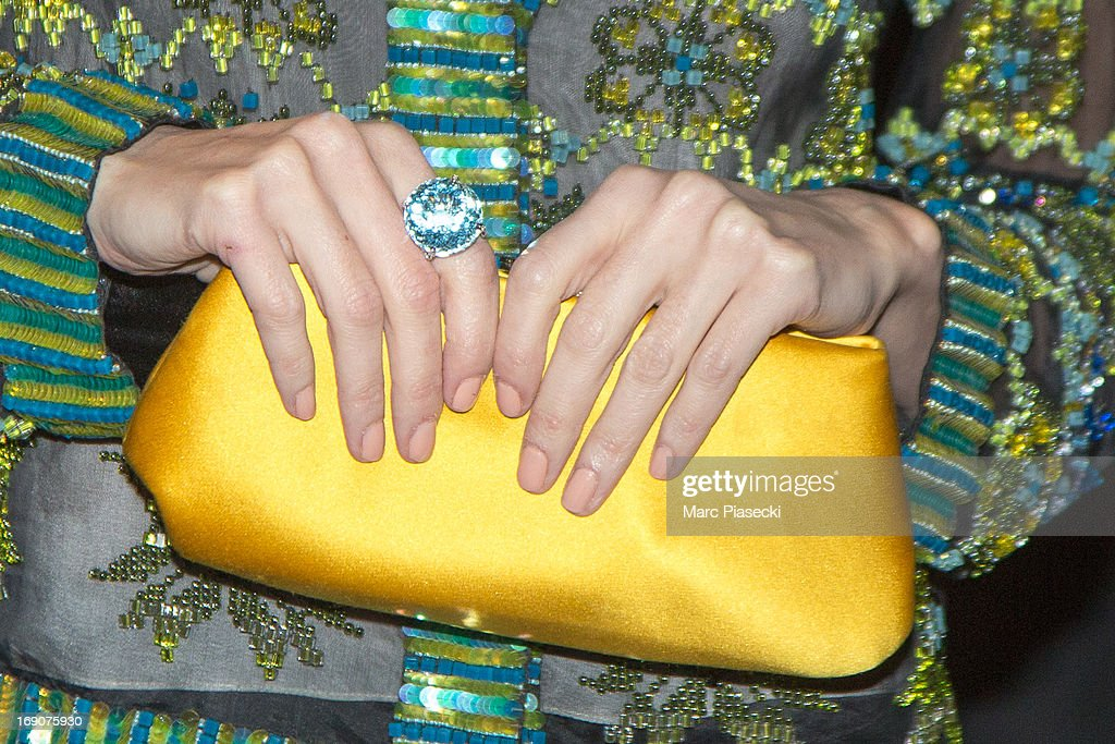 Actress Paz Vega (handbag detail) arrives to attend the 'Vanity Fair Chanel' dinner at 'Tetou' restaurant during the 66th Annual Cannes Film Festival on May 19, 2013 in Le Golfe Juan, France.