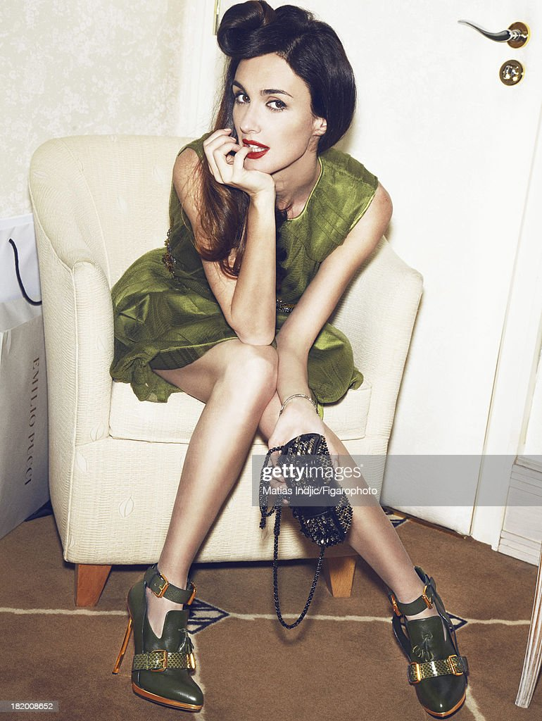 106860-008. Actress <a gi-track='captionPersonalityLinkClicked' href=/galleries/search?phrase=Paz+Vega&family=editorial&specificpeople=208840 ng-click='$event.stopPropagation()'>Paz Vega</a> is photographed for Madame Figaro on May 28, 2013 in Cannes, France. Dress (Alberta Ferretti), bracelet (Alexandre McQueen), bag (Christian Louboutin), boots (Stuart Weitzman). Make-up by L'Oreal Paris. PUBLISHED IMAGE.