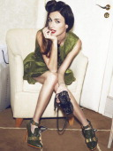 106860008 Actress Paz Vega is photographed for Madame Figaro on May 28 2013 in Cannes France Dress bracelet bag boots Makeup by L'Oreal Paris...