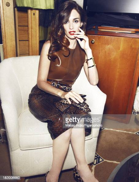 106860012 Actress Paz Vega is photographed for Madame Figaro on May 28 2013 in Cannes France Top and skirt belt and gloves cuff shoes Makeup by...