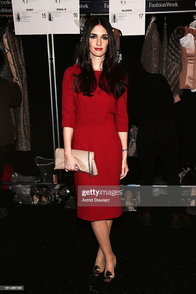 Actress Paz Vega poses backstage at the Carolina Herrera Fall 2013 fashion show during Mercedes-Benz Fashion Week at The Theatre at Lincoln Center on February 11, 2013 in New York City.