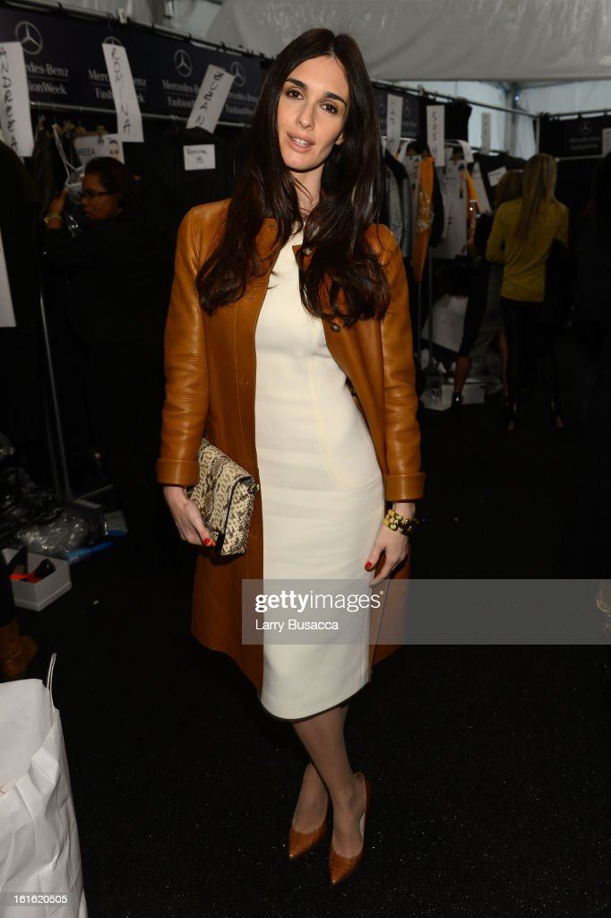 Actress Paz Vega poses backstage at the Michael Kors Fall 2013 fashion show during Mercedes-Benz Fashion Week at The Theatre at Lincoln Center on February 13, 2013 in New York City.