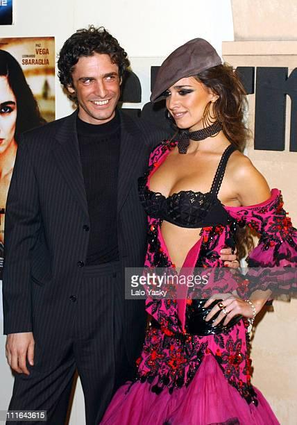 Actress Paz Vega Wearing a John Galliano Design and Actor Leonardo Sbaraglia