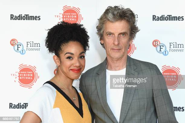 Actress Pearl Mackie and actor Peter Capaldi attend the BFI Radio Times TV Festival at BFI Southbank on April 9 2017 in London England