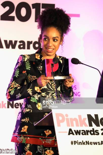Actress Pearl Mackie receives an Ally award on behalf of television show Doctor Who at the Pink News Awards 2017 held at One Great George Street on...