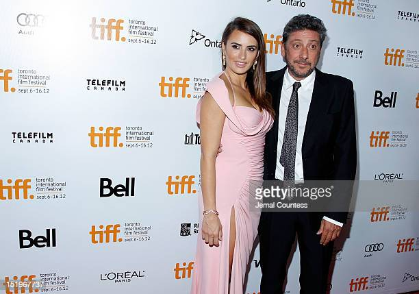 Actress Penelope Cruz and director Sergio Castellitto arrive at the 'Twice Born' premiere during the 2012 Toronto International Film Festival at Roy...