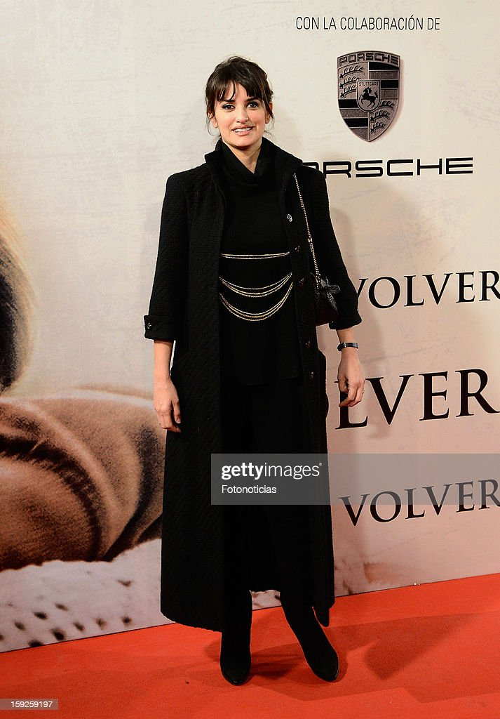 Actress Penelope Cruz attends the premiere of 'Venuto al Mondo' ('Volver A Nacer') at the Capitol Cinema on January 10, 2013 in Madrid, Spain.