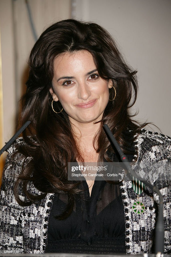 Actress Penelope Cruz being honoured with the medal of 'Chevalier des Arts et Lettres'.