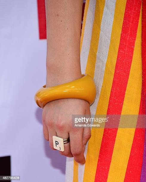Actress Penelope Mitchell jewelry detail arrives at the Australian Theatre Company fundraiser hosted by the Australian ConsulGeneral on August 2 2015...