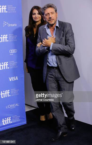 Actress Penélope Cruz and director Sergio Castellitto attend the 'Twice Born' Photo Call during the 2012 Toronto International Film Festival at TIFF...
