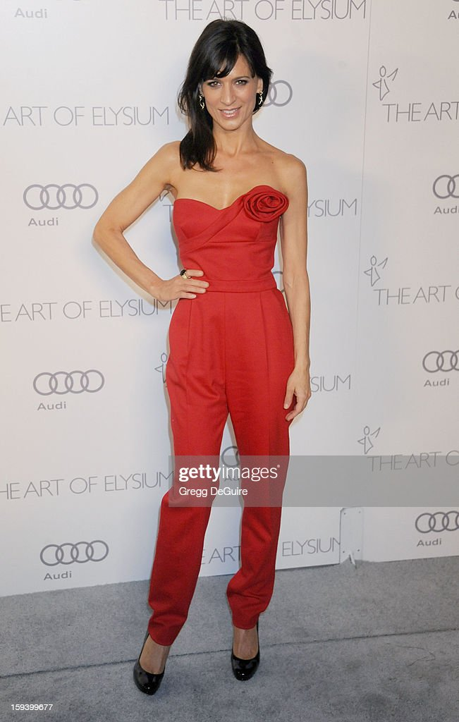 Actress Perrey Reeves arrives at The Art of Elysium's Heaven Gala at 2nd Street Tunnel on January 12, 2013 in Los Angeles, California.
