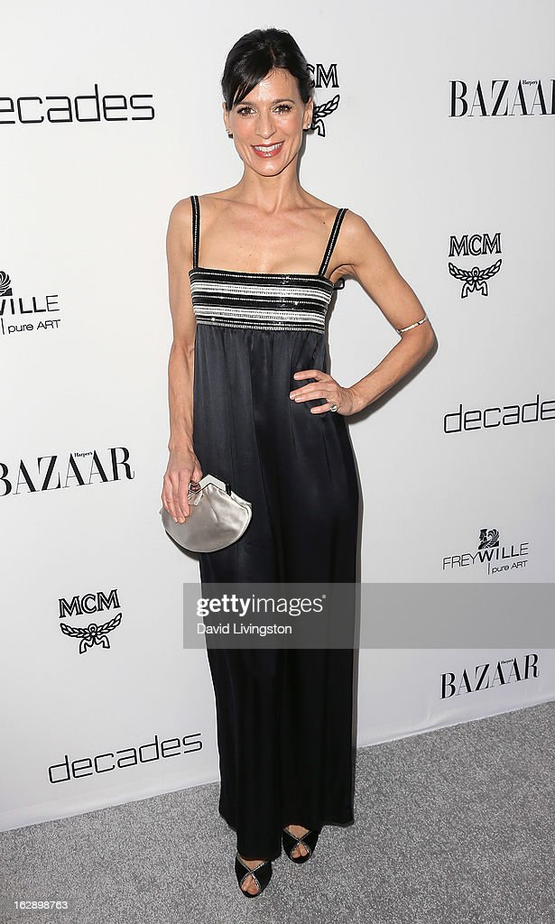 Actress Perrey Reeves attends the Harper's BAZAAR celebration of Cameron Silver and Christos Garkinos of Decades new Bravo series 'Dukes of Melrose' at The Terrace at Sunset Tower on February 28, 2013 in West Hollywood, California.