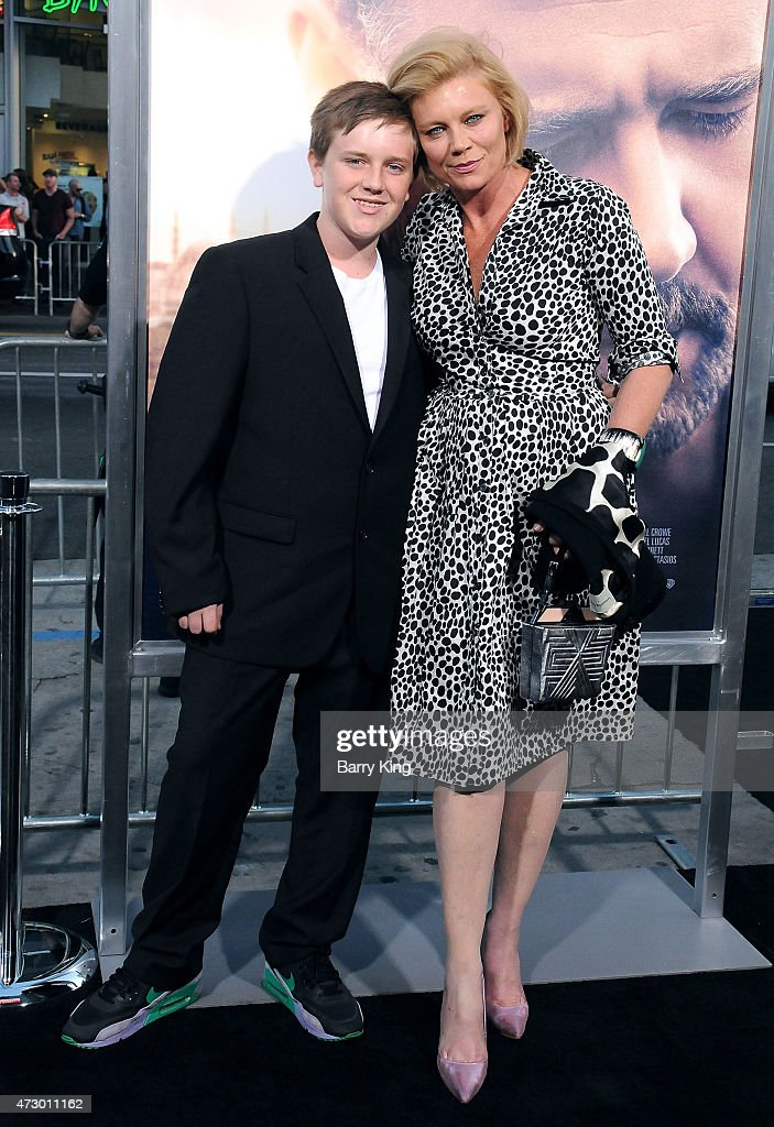 Actress Peta Wilson (R) and her son Marlow Harris-Wilson (L) attend the premiere of 'The Water Diviner' at TCL Chinese Theatre IMAX on April 16, 2015 in Hollywood, California.