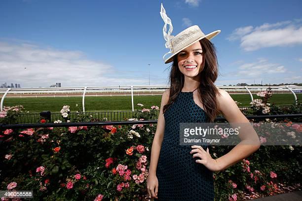 Actress Philippa Northeast poses on Emirates Stakes Day at Flemington Racecourse on November 7 2015 in Melbourne Australia
