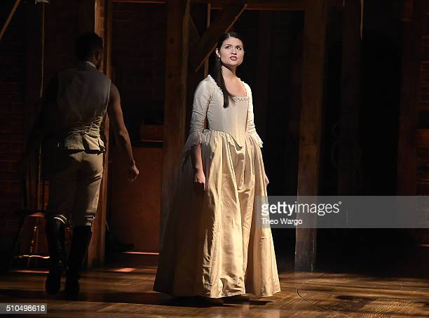 Actress Phillipa Soo performs on stage during 'Hamilton' GRAMMY performance for The 58th GRAMMY Awards at Richard Rodgers Theater on February 15 2016...